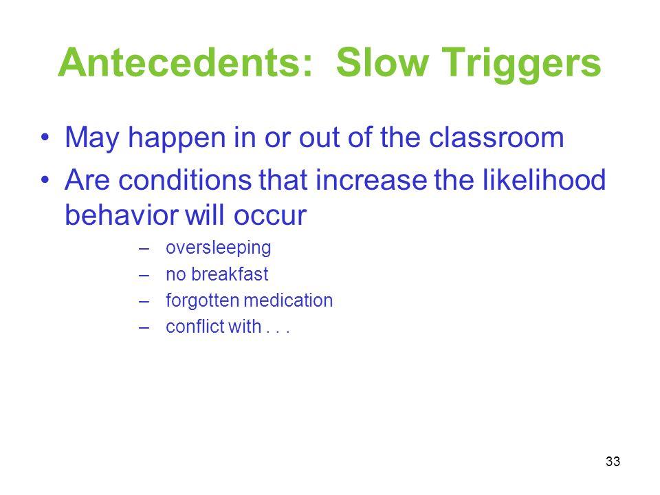 Antecedents: Slow Triggers