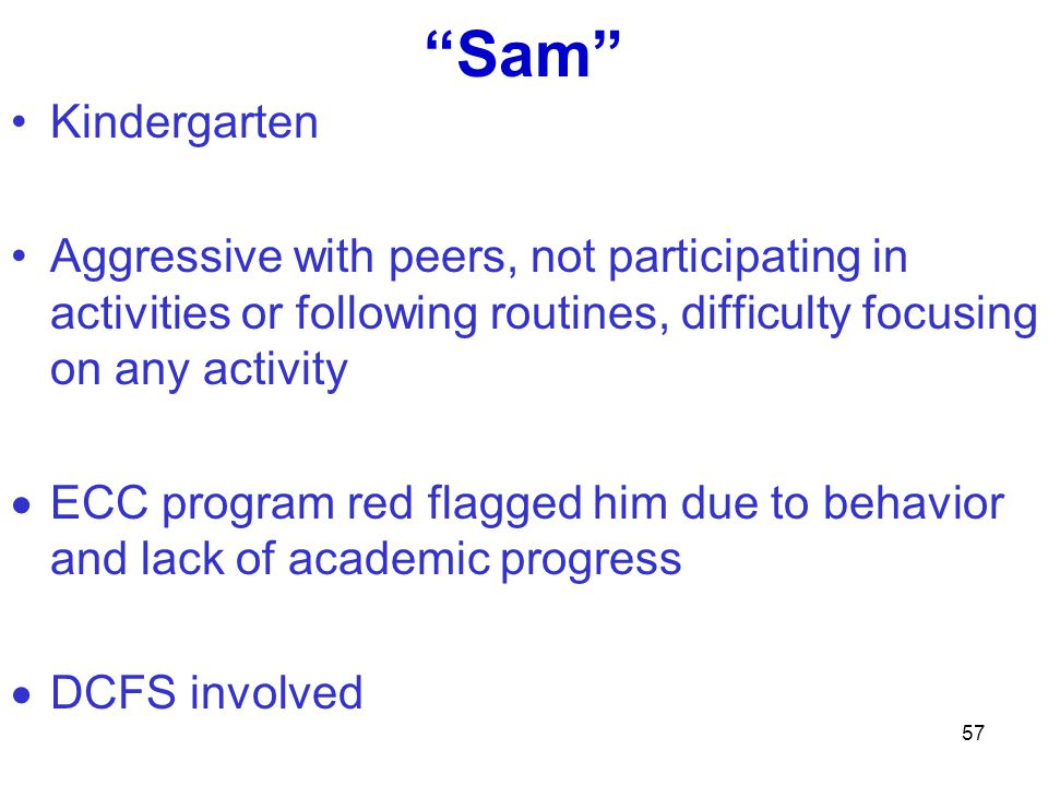 Sam Kindergarten. Aggressive with peers, not participating in activities or following routines, difficulty focusing on any activity.