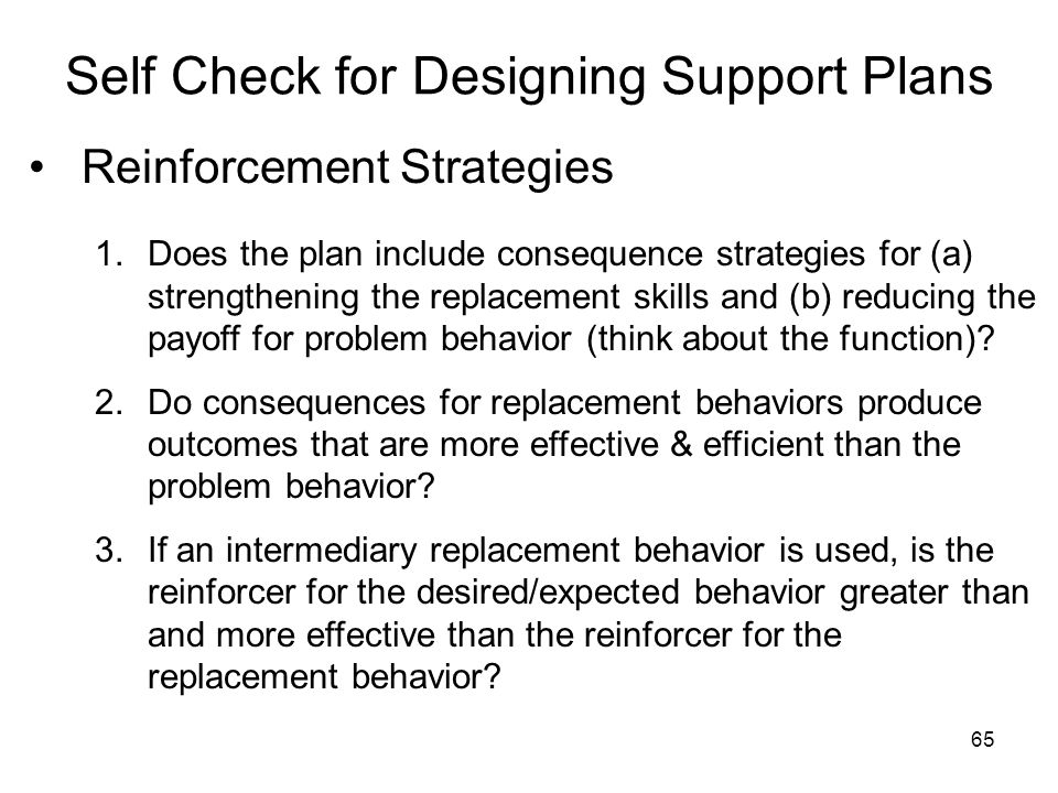 Self Check for Designing Support Plans
