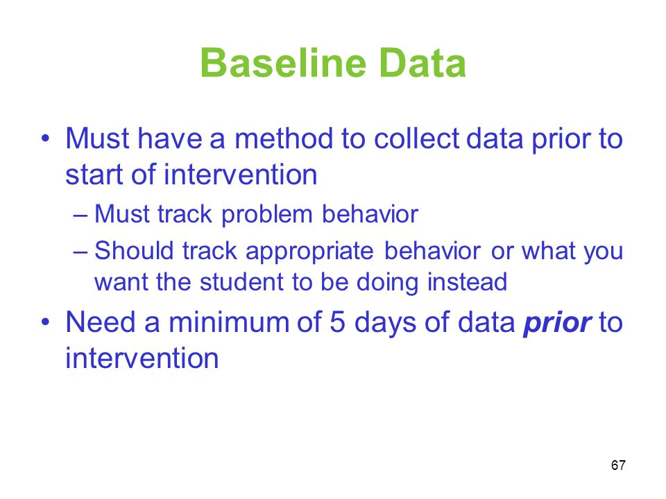 Baseline Data Must have a method to collect data prior to start of intervention. Must track problem behavior.
