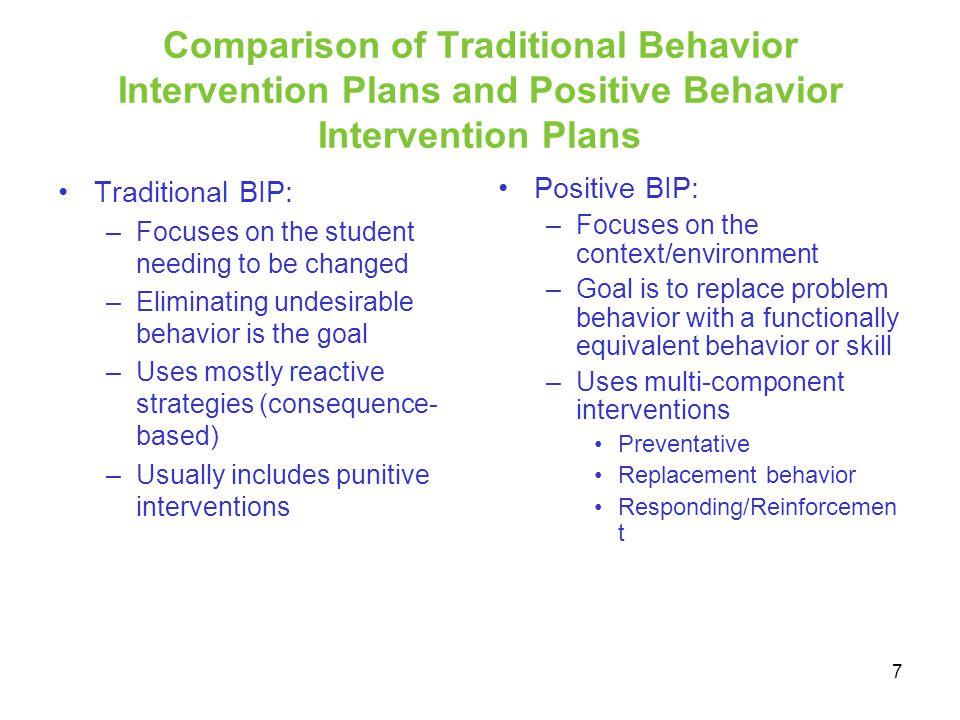Comparison of Traditional Behavior Intervention Plans and Positive Behavior Intervention Plans
