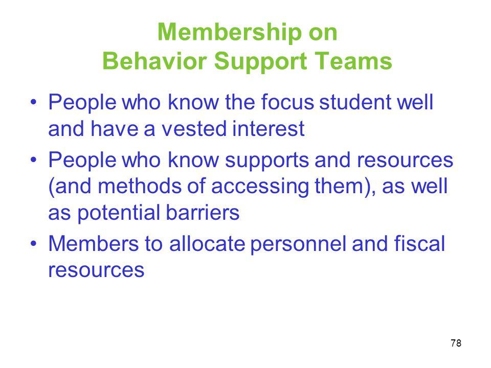 Membership on Behavior Support Teams