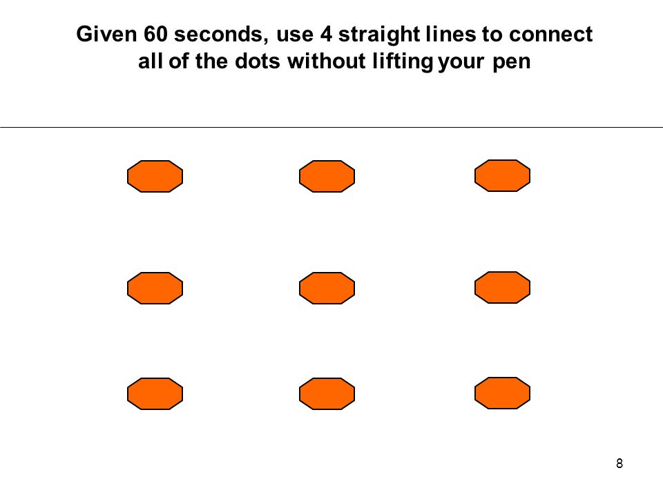 Given 60 seconds, use 4 straight lines to connect all of the dots without lifting your pen
