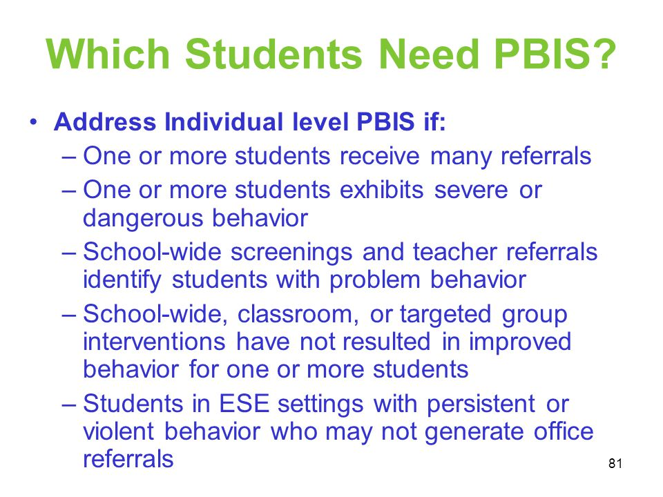 Which Students Need PBIS