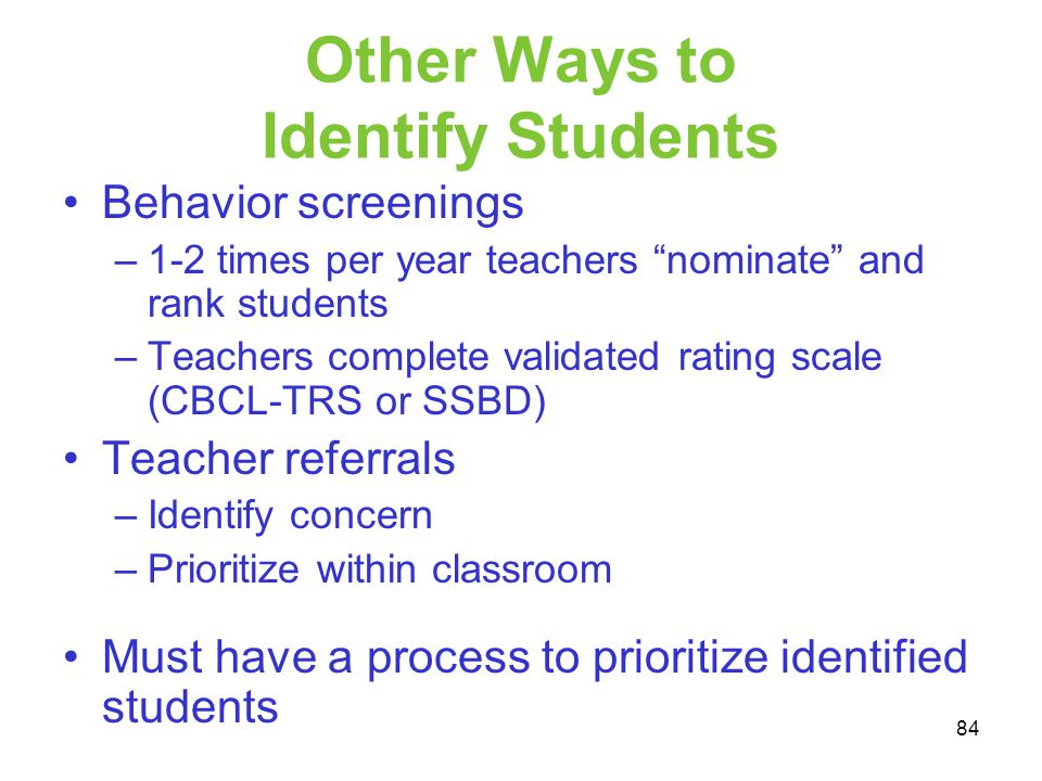Other Ways to Identify Students