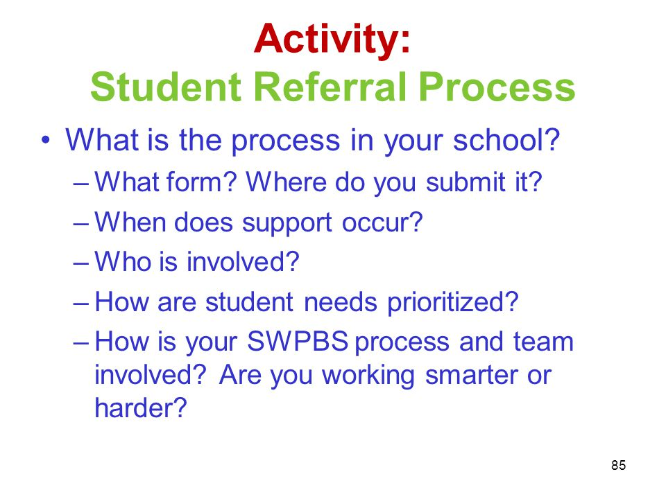 Activity: Student Referral Process