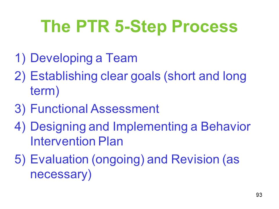 The PTR 5-Step Process Developing a Team
