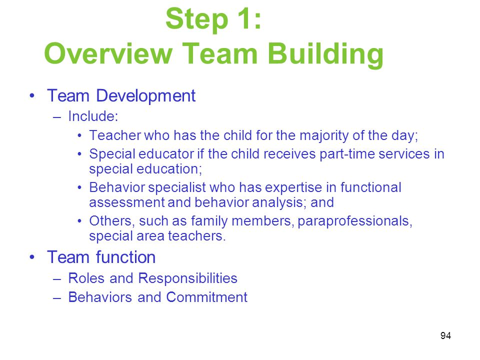 Step 1: Overview Team Building