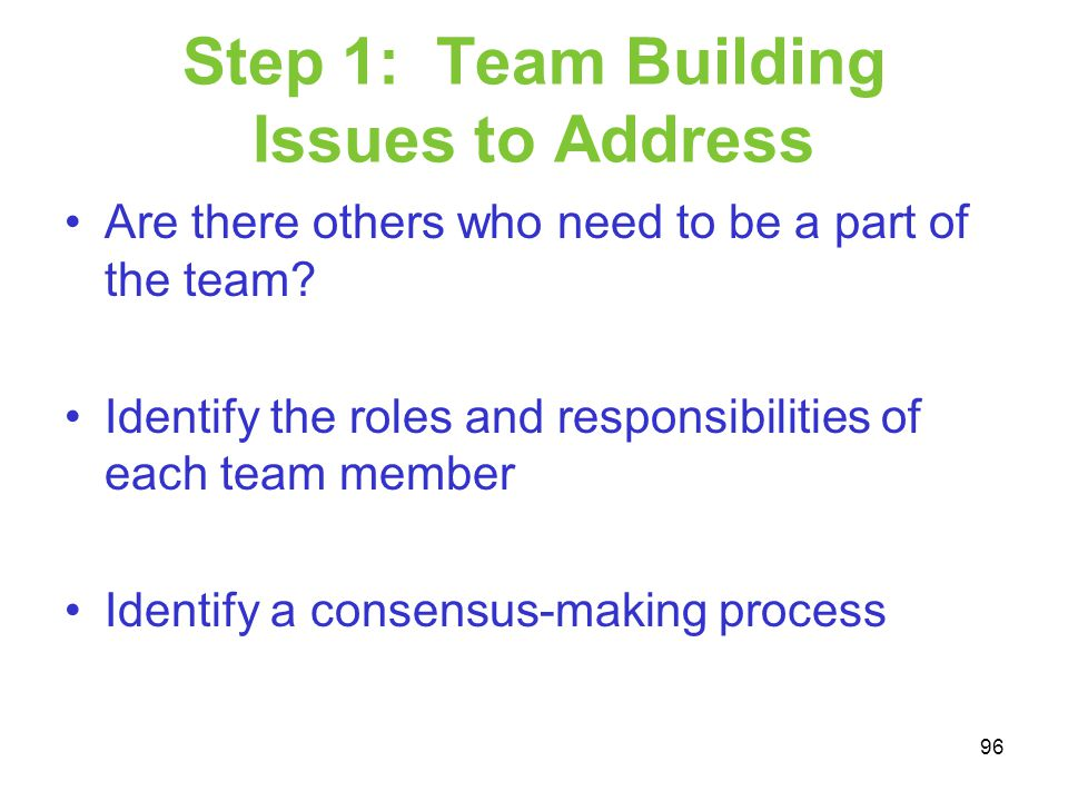Step 1: Team Building Issues to Address