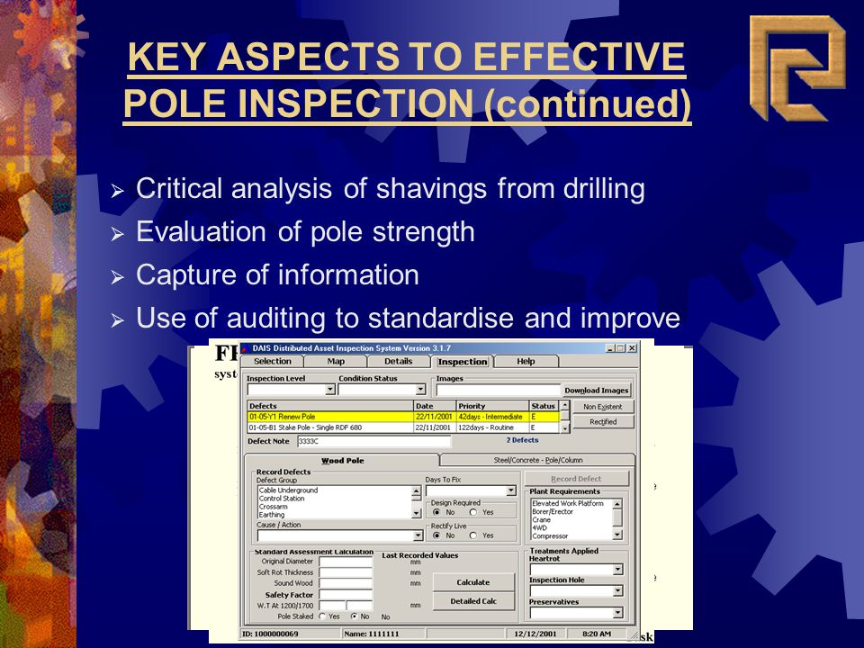 KEY ASPECTS TO EFFECTIVE POLE INSPECTION (continued)