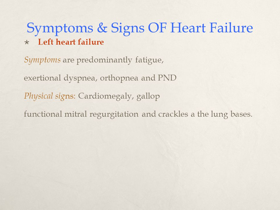 Symptoms & Signs OF Heart Failure