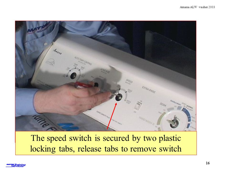 Removing speed switch The speed switch is secured by two plastic locking tabs, release tabs to remove switch.