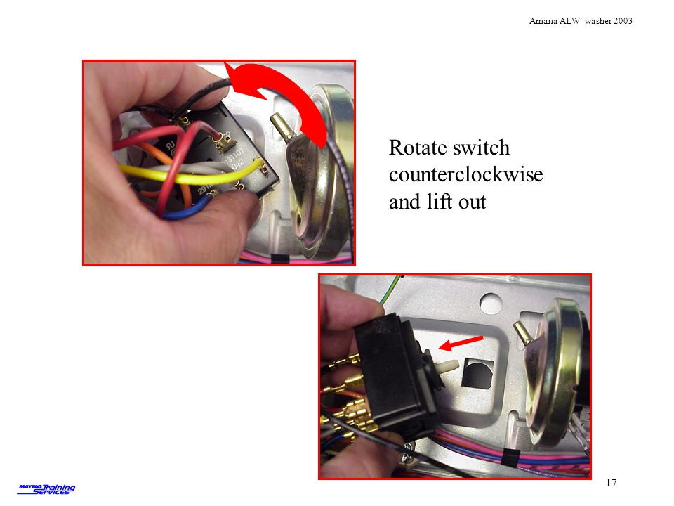 Rotate switch counterclockwise and lift out