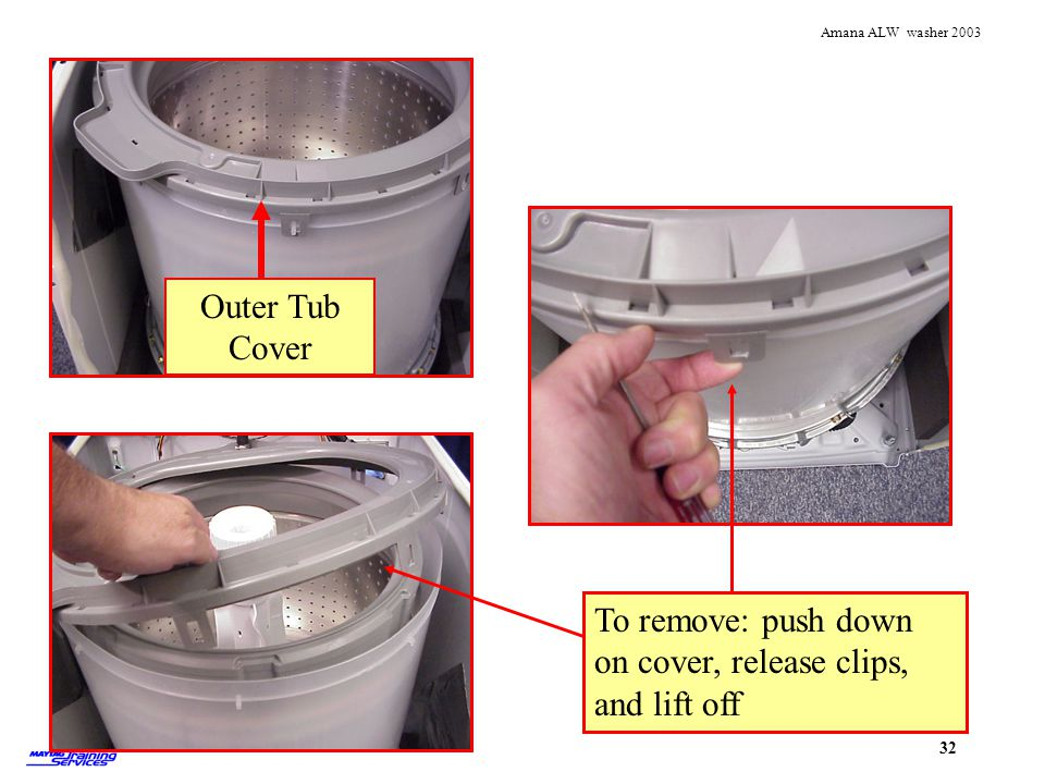 Outer Tub Cover Splash Ring. To remove: release clips and lift off.