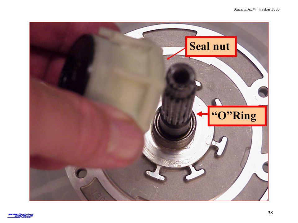 Seal nut off shaft showing o ring