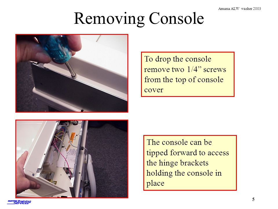 Removing Console To drop the console remove two 1/4 screws from the top of console cover.