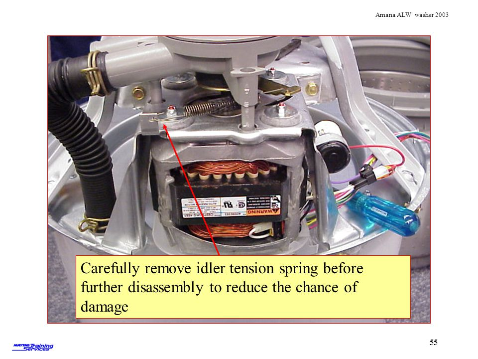 Idler tension spring Carefully remove idler tension spring before further disassembly to reduce the chance of damage.