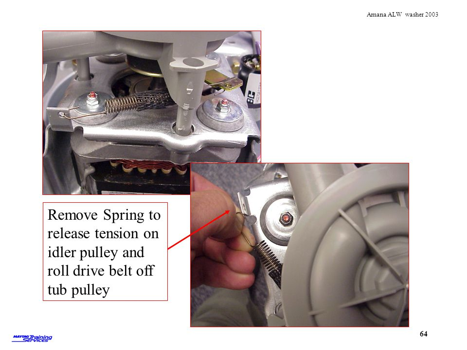 Remove Spring to release tension on idler pulley and roll drive belt off tub pulley