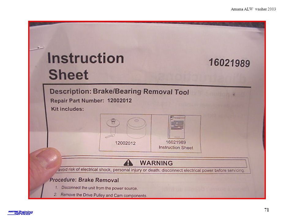Instruction sheet for brake/bearing tool