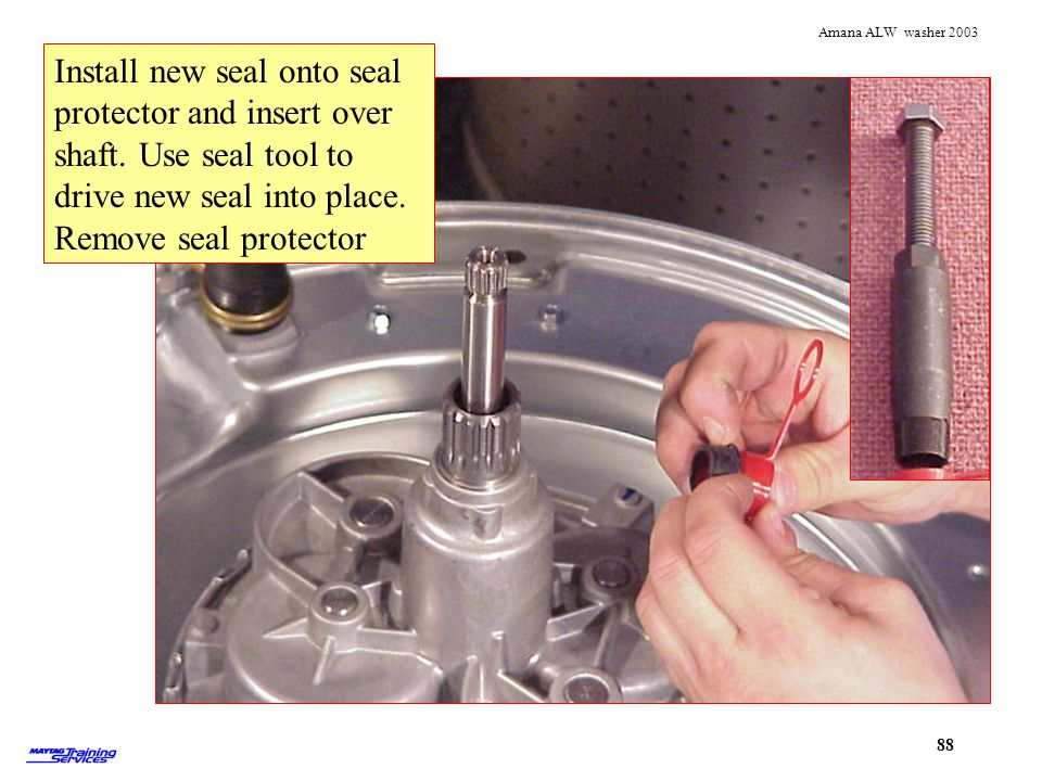 Install new seal onto seal protector and insert over shaft