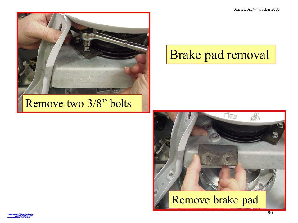 Remove brake pad Remove two 3/8 bolts Brake pad removal
