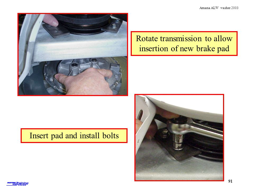Rotate transmission to allow insertion of new brake pad