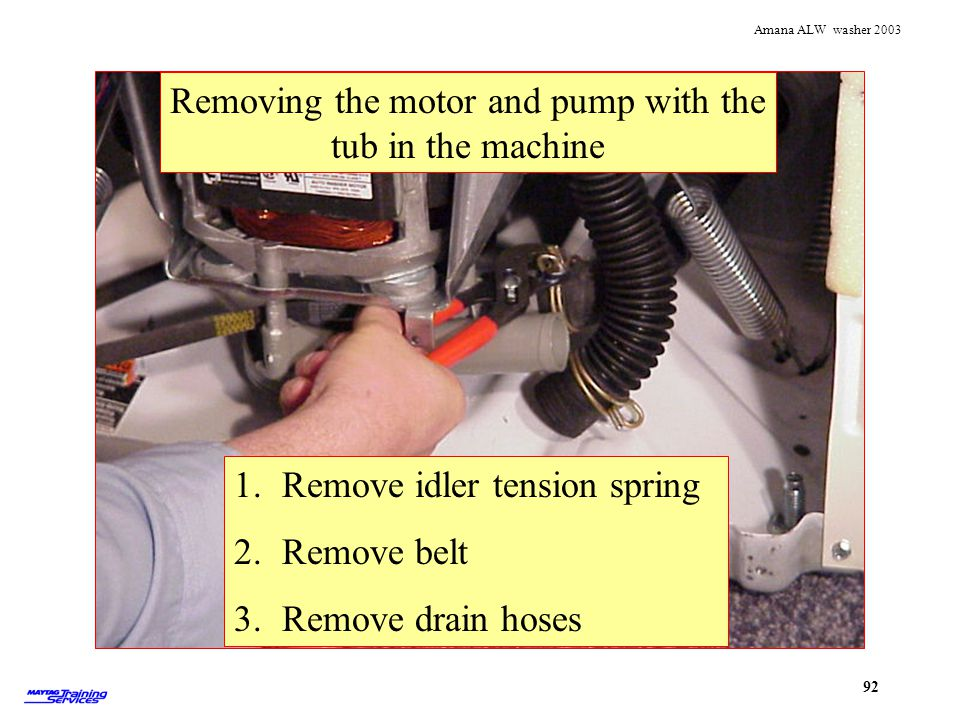 Removing the motor and pump with the tub in the machine