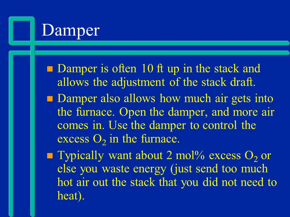 Damper Damper is often 10 ft up in the stack and allows the adjustment of the stack draft.