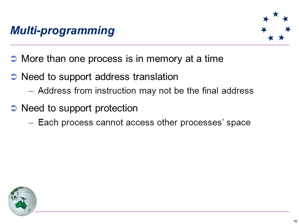 Multi-programming More than one process is in memory at a time