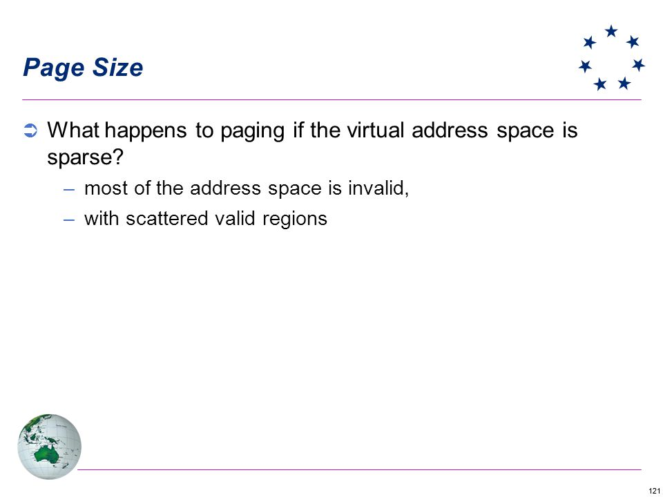Page Size What happens to paging if the virtual address space is sparse most of the address space is invalid,