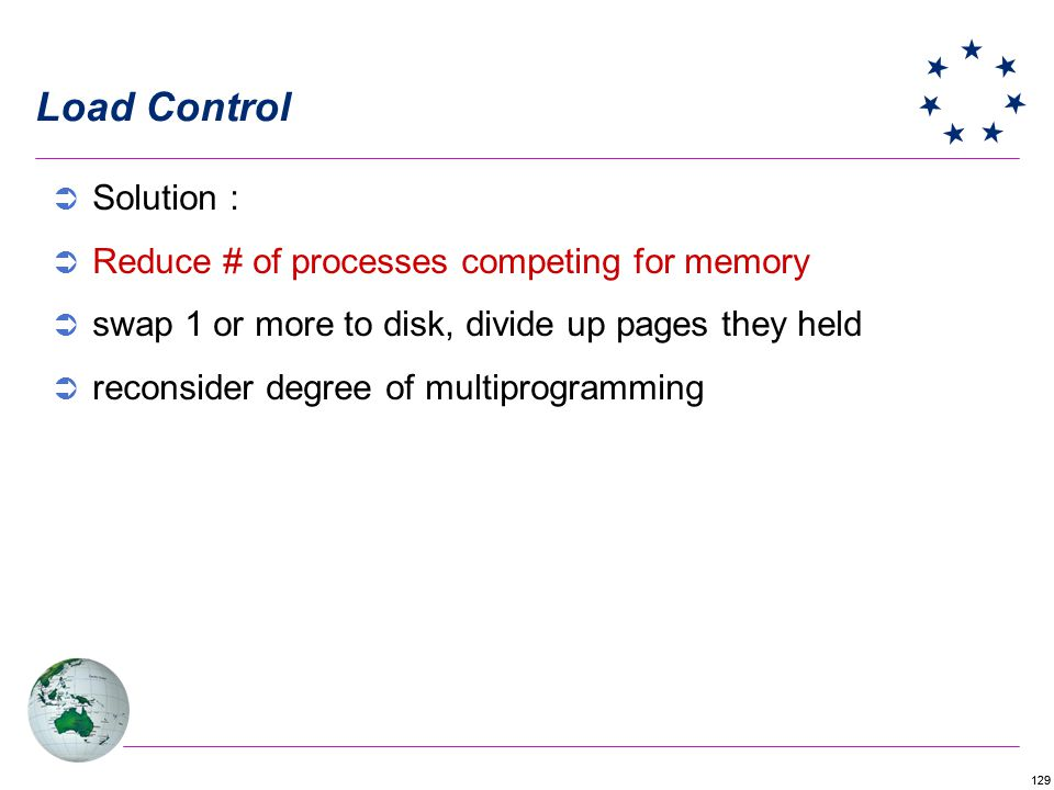 Load Control Solution : Reduce # of processes competing for memory