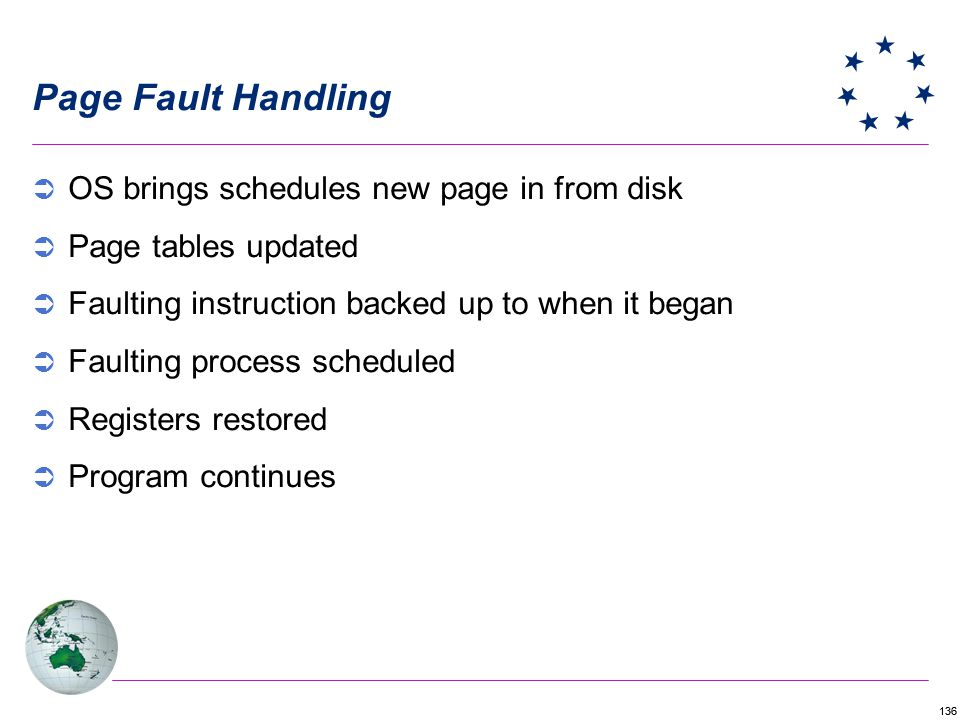 Page Fault Handling OS brings schedules new page in from disk