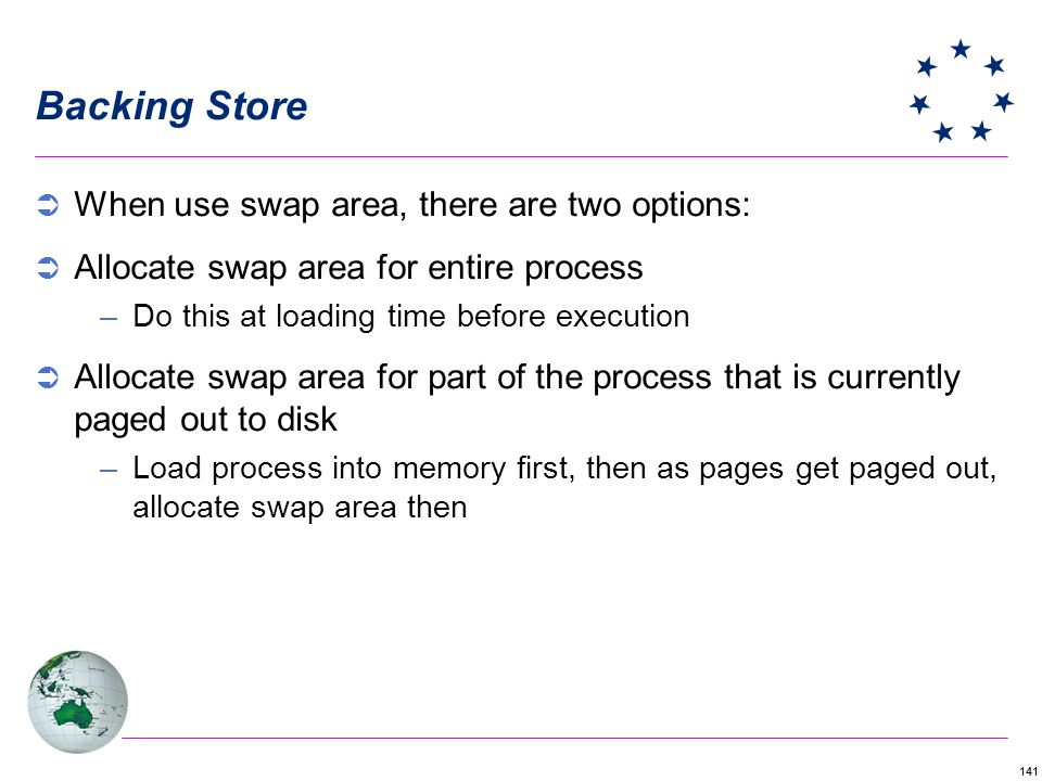Backing Store When use swap area, there are two options: