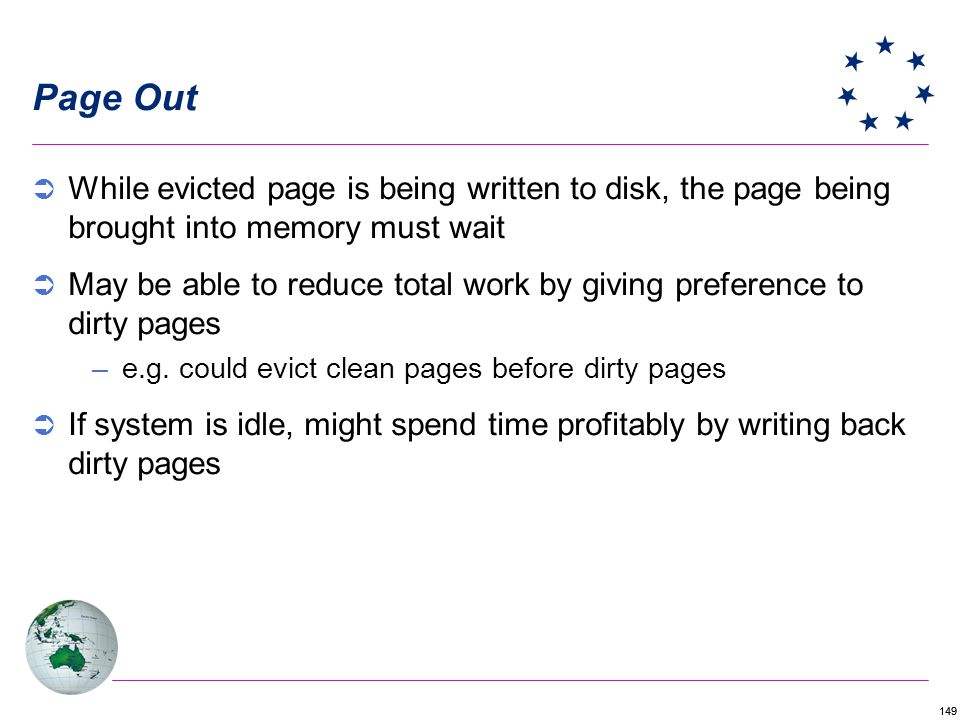 Page Out While evicted page is being written to disk, the page being brought into memory must wait.