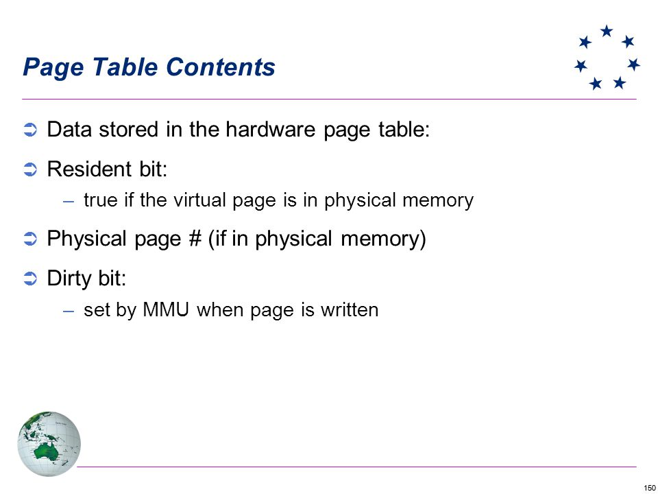 Page Table Contents Data stored in the hardware page table: