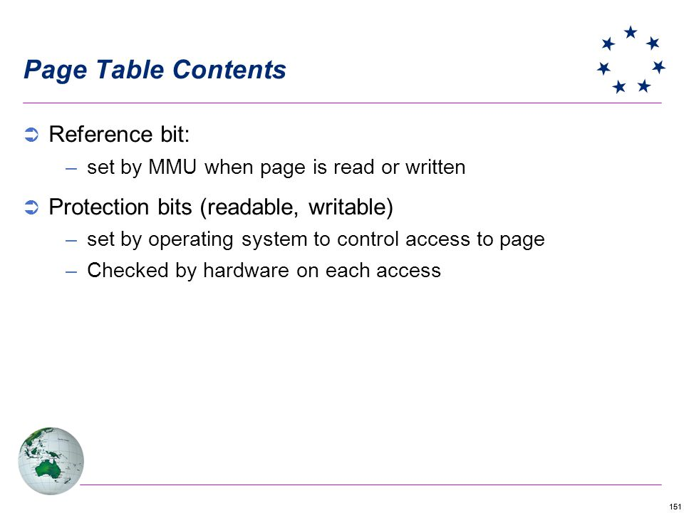Page Table Contents Reference bit: