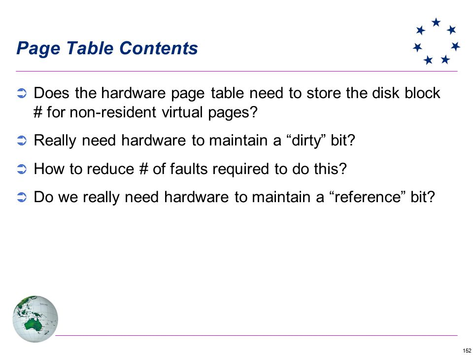Page Table Contents Does the hardware page table need to store the disk block # for non-resident virtual pages