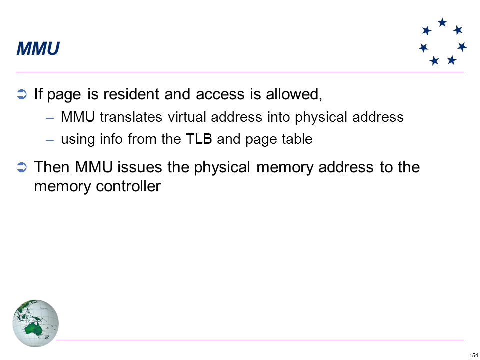 MMU If page is resident and access is allowed,