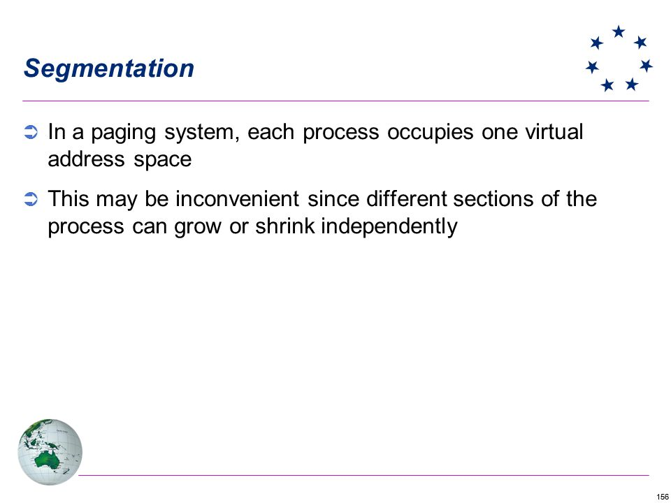 Segmentation In a paging system, each process occupies one virtual address space.