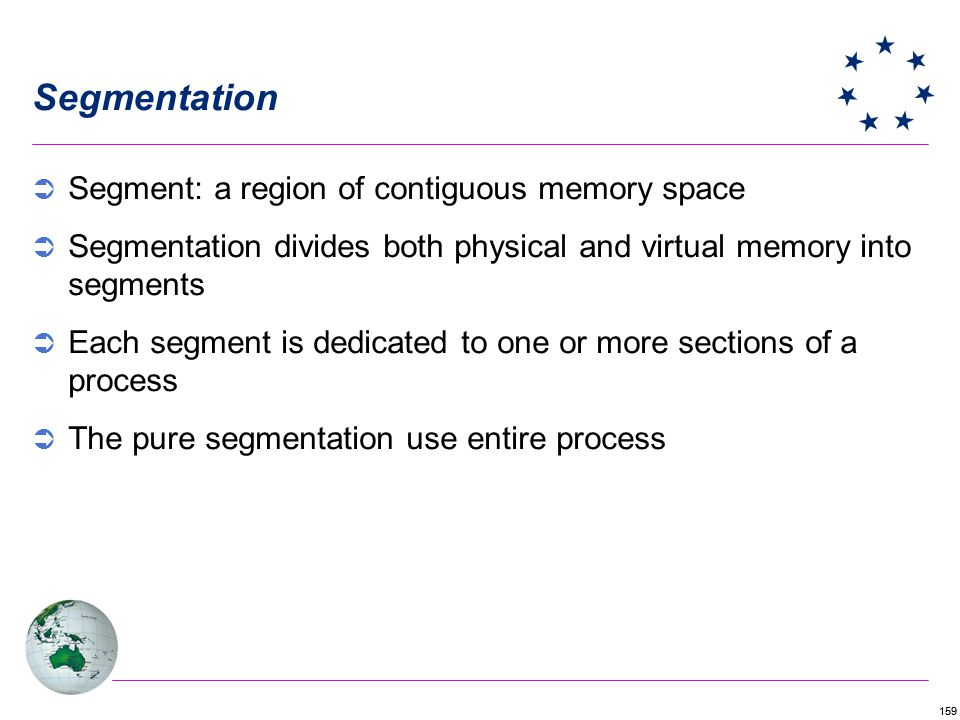 Segmentation Segment: a region of contiguous memory space
