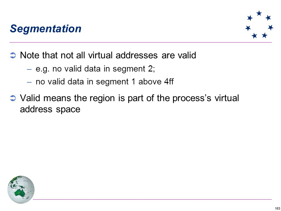 Segmentation Note that not all virtual addresses are valid