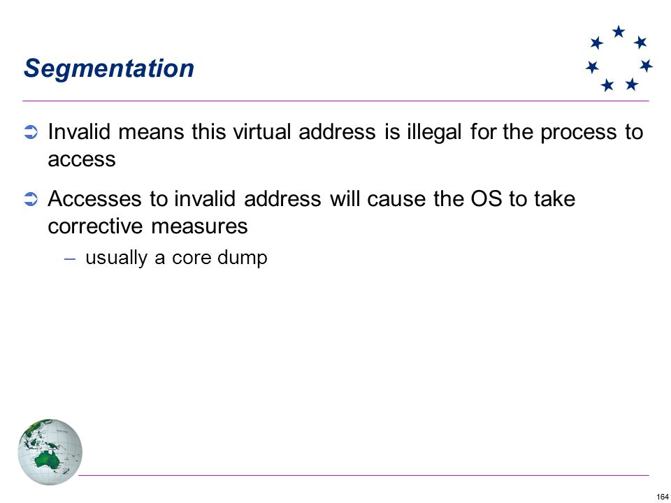 Segmentation Invalid means this virtual address is illegal for the process to access.