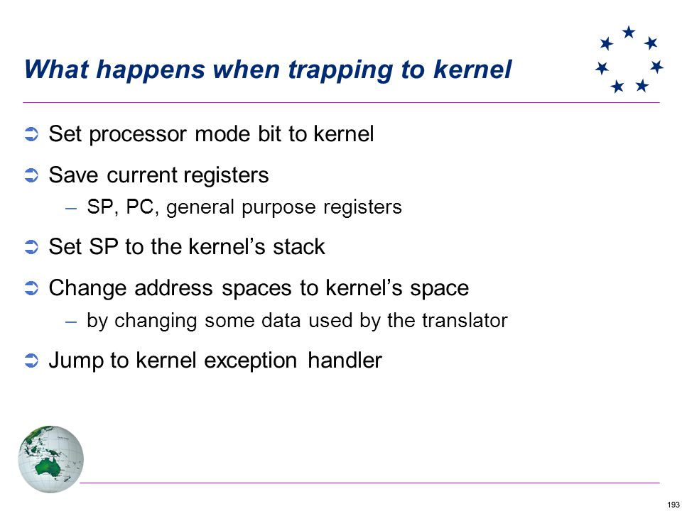 What happens when trapping to kernel
