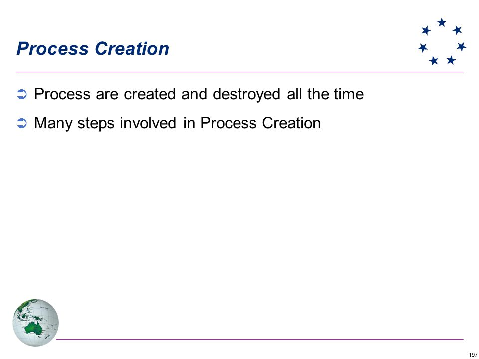Process Creation Process are created and destroyed all the time