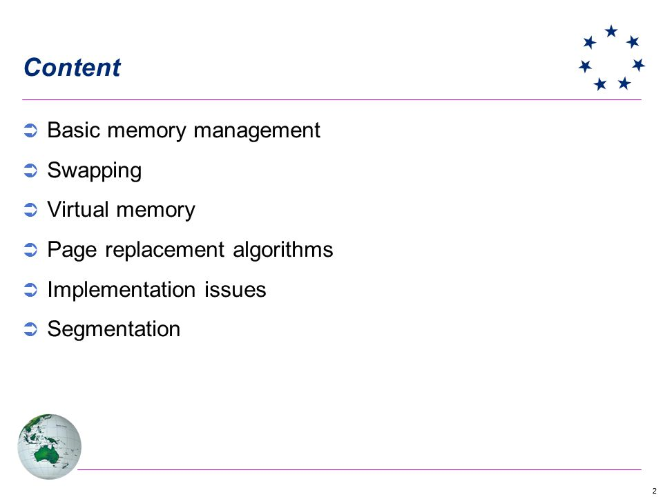 Content Basic memory management Swapping Virtual memory
