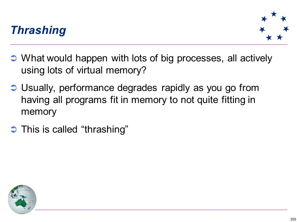 Thrashing What would happen with lots of big processes, all actively using lots of virtual memory