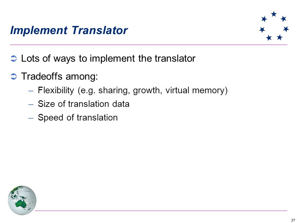 Implement Translator Lots of ways to implement the translator