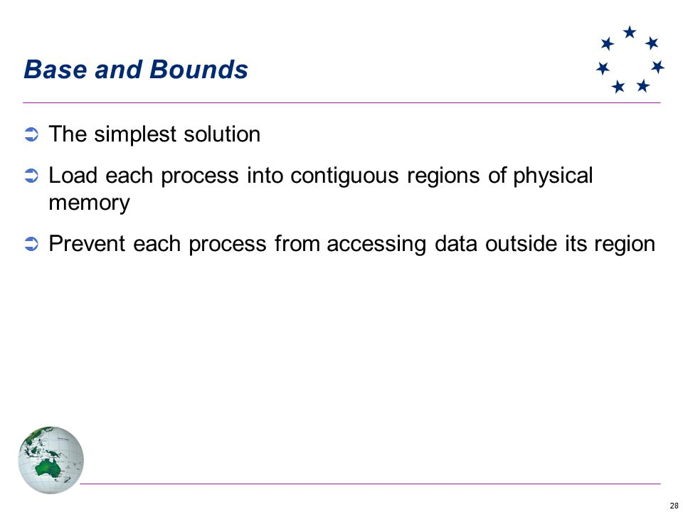 Base and Bounds The simplest solution