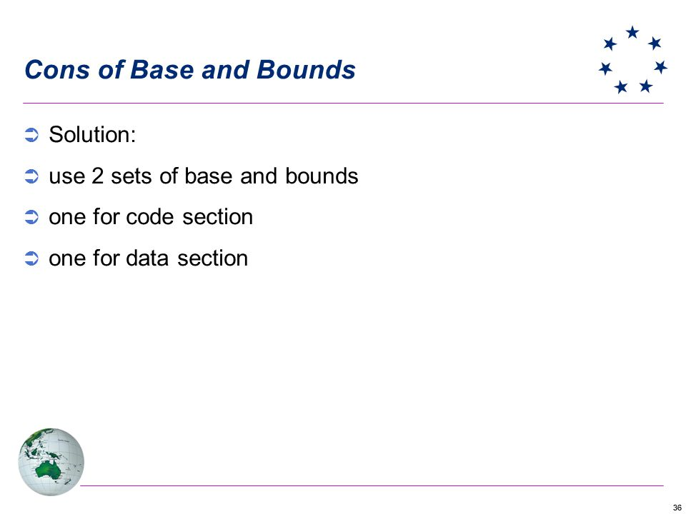 Cons of Base and Bounds Solution: use 2 sets of base and bounds