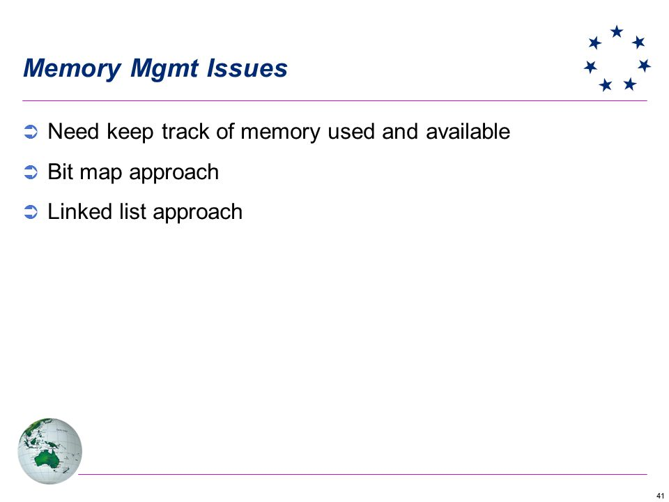 Memory Mgmt Issues Need keep track of memory used and available